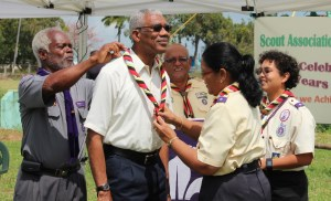 President David Granger being inducted as Patron by Chief Commissioner, Zaida Joaquin