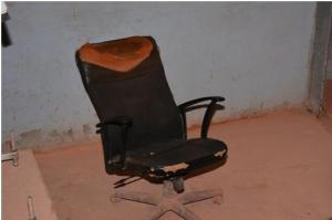 A chair that is used by an operator at the Kurubuka mining site during his twelve hour shift.
