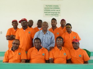 Moleson Creek bus drivers pose in their new uniforms with Director General, Donald Sinclair