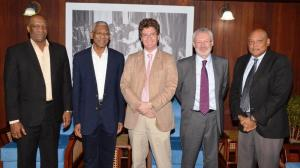From L-R- Minister of State, Joseph Harmon, President David Granger, British High Commissioner, Greg Quinn, SEA Manager of Tullow Oil plc, John McKenna, and Minister of Governance, Raphael Trotman