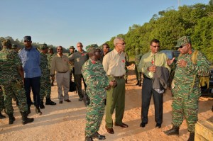 President David Granger and GDF ranks during a recent exercise.