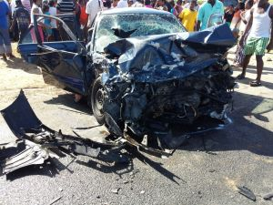 One of the mangled cars following the accident. [iNews' Photo]
