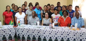 First Lady Mrs. Sandra Granger (centre) with participants in the workshop in Region Nine.