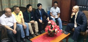 Public Health Minister, Dr. George Norton meets with the Five member Chinese medical specialist team