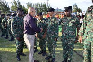 Former President, Donald Ramotar and army ranks.