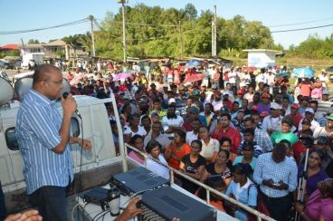 Opposition Leader Bharrat Jagdeo addressing a large gathering at Wales, yesterday