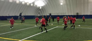 The Lady Jags during a training session in Canada