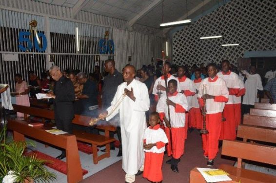 President David Granger participating in the Old Year's night service at the Church of the Transfiguration on Mandela Avenue.