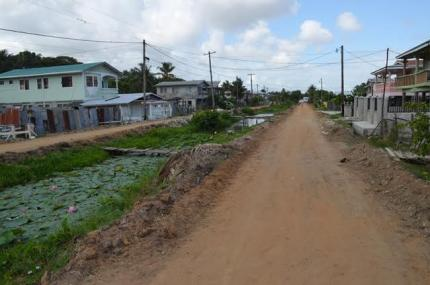 The road leading from 'A' into 'B' field Sophia that was recently excavated and will soon be asphalted