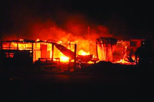 A property being destroyed on E-Day in Sophia