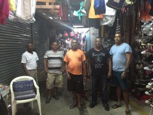 Some of the stallholders at the Parika Marketing Centre, East Bank Essequibo (EBE) who are being affected due to the numerous sellers on the roadway.