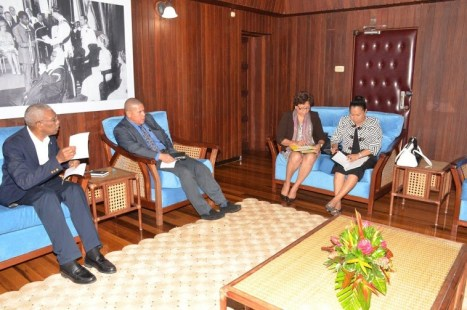 President David Granger in discussions with Health Minister, Dr. George Norton, Minister within the Ministry of Indigenous Peoples Affairs, Ms. Valerie Garrido-Lowe, and Minister within the Ministry of Communities, Ms. Dawn Hastings at the Ministry of the Presidency