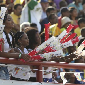 Fans enjoying the atmosphere at a CPL game at the National Stadium, Providence, Guyana.