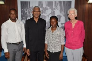From left: Mr. Quincy Richards, President David Granger, Ms. Shawna Estwick and Ms. Sabine McIntosh, today, at the Ministry of the Presidency.