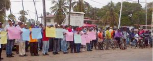 Workers from Rose Hall sugar estate stand in solidarity with colleagues from Wales estate, today
