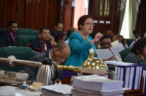 PPP/C Chief Whip in Parliament, Ms Gail Teixeira kick-starting day three of the ongoing debate on Budget 2016 (Carl Croker photo)