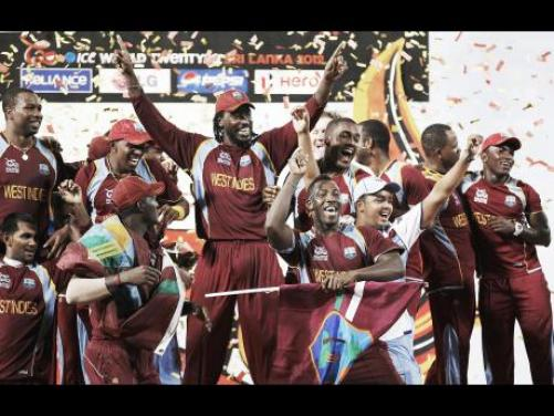 West Indies celebrate their win over Sri Lanka in the ICC Twenty20 Cricket World Cup final in Colombo, Sri Lanka, on Sunday, October 7, 2012. West Indies' won by 36 runs.