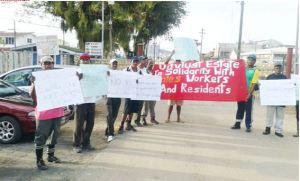 Sugar workers striking at Enmore, today