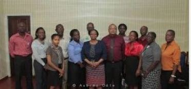 Members of the East Bank Board Roderick Edinboro, Alma Francois-Bovell, Fannett Brandford, Loraine Stephens, Mark Braithwaite and Deryck Boyce along with Social Protection Minister Volda Lawrence