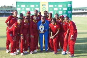 Windies Women pose with the winner's trophy after their 2-1 series win over South Africa Women (WICB photo)