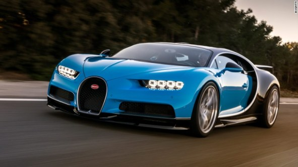 The Bugatti Chiron succeeds the Veyron, the world's fastest car in 2013.  With 1,500 HP, its speed will be capped at 420 km/h (260 mph) for road use