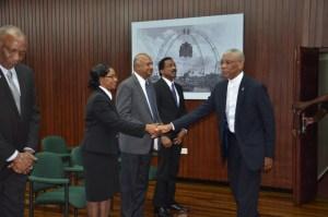 President David Granger greeting Chief Justice Yonette Cummings-Edwards