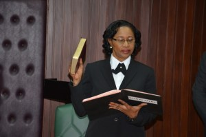 CJ Yonette Cummings- Edwards taking the Oath of Office as Chief Justice