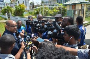 Opposition leader Dr Bharrat Jagdeo speaking to the media this morning