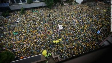 Anti-government protestors flood Sao Paulo's streets Sunday.