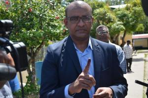 Dr Jagdeo after exercising his franchise