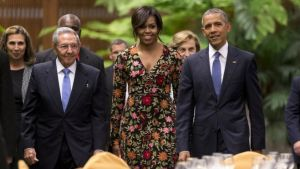 Mr Obama and first lady Michelle Obama attended a state dinner with Mr Castro in Havana
