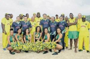 Tallawahs team members and cheerleaders (Jamaica Observer photo)