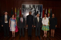 From left: Honorary Consul of Portugal in Guyana, Mr. Michael Correia Jnr., Mrs. Teles Fazendeiro (wife of the new Ambassador), Minister Carl Greenidge, President David Granger, Ambassador Manuel De Jesus Teles Fazendeiro, Director General of the Ministry of Foreign Affairs, Ambassador Audrey Waddell and Chief of Protocol, Ms. Esther Griffith, after the induction ceremony at the Ministry of the Presidency.