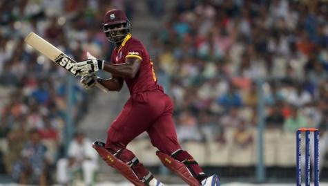 West Indies captain Darren Sammy plays a shot during a practice match between Australia and West Indies during the World T20 at Eden Gardens in Kolkata. (AFP)