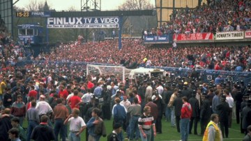 Ninety-six Liverpool fans died during the FA Cup semifinal against Nottingham Forest at Sheffield Wednesday's Hillsborough stadium on April 15, 1989. Hide Caption 1 of