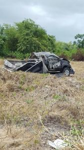 The mangled vehicle involved in the accident