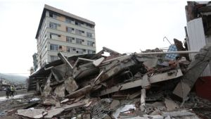 Some buildings were reduced to rubble by the quake