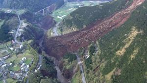 The earthquake triggered a massive landslide in the region (AFP PHOTO/DEFENCE MINISTRY/JIJI PRESS)