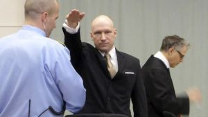 Breivik gave the Nazi salute when he appeared in court  (Reuters photo)