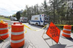 Law enforcement has closed down Union Hill Road in Pike County, Ohio, while they investigate a shooting with multiple fatalities on Friday. (AP photo)