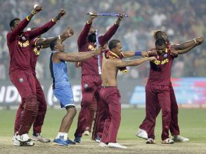 West Indies players celebrate after winning the World T20 title in Kolkata on Sunday (April 3)
