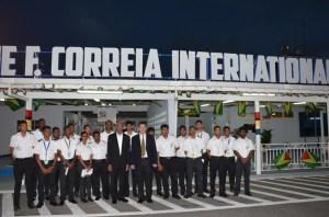 President David Granger with Chairman of Ogle International Airport (OAI) Board, Michael Correia and staff of the Trans Guyana hangar