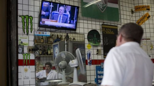 Brazilians are following the Senate debate on national television  (AP photo)
