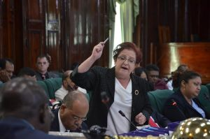 PPP/C Chief Whip Gail Teixeira speaks in the National Assembly this afternoon