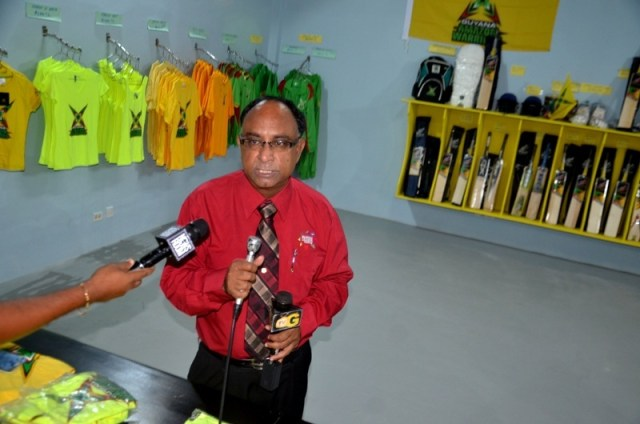 Guyana Amazon Warriors Manager Omar Khan addressing the media at the opening of the local CPL ticket office at Camp and Quamina streets in Georgetown on Thursday.