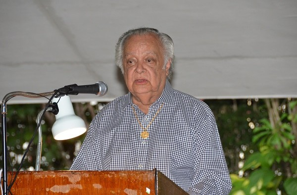 Sir Shridath Ramphal at a recent launch of his book 'Guyana In The World: The First of the First Fifty Years and the Predatory Challenge'