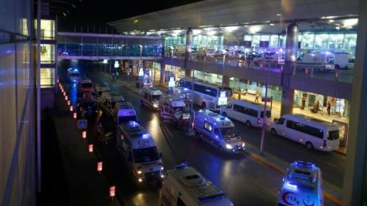 Ambulances flocked to the airport after the explosion (Reuters photo)
