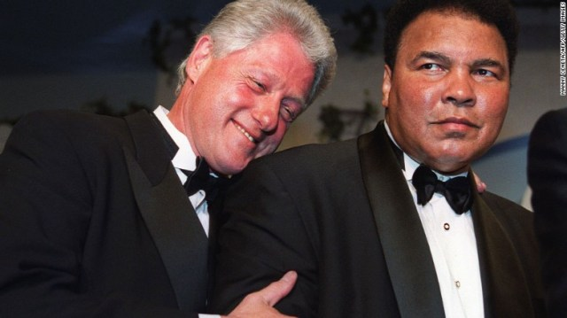 """Former President Bill Clinton will eulogize Muhammad Ali at a memorial service Friday, June 10, in Louisville, Kentucky. Clinton, seen here with Ali at 2000 gala, awarded the boxing great the Presidential Citizens Medal in 2001. He said he went on """"to forge a friendship with a man who, through triumph and trials, became even greater than his legend."""" (CNN photo)"""