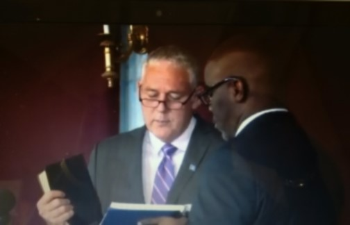 Allen Michael Chastanet taking the Oath of Office earlier today