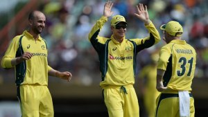 Nathan Lyon claimed two wickets in two balls, West Indies v Australia, ODI tri-series, 2nd match, Providence, June 5, 2016 © AFP